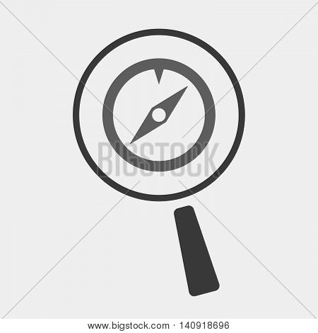 Isolated Magnifier Icon With An F Clef