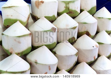 Fresh coconuts in the market. Coconut water is a fragrant and sweet.