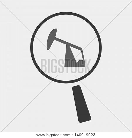 Isolated Magnifier Icon With A Horsehead Pump