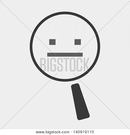 Isolated Magnifier Icon With A Emotionless Text Face