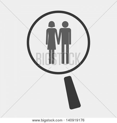 Isolated Magnifier Icon With A Heterosexual Couple Pictogram