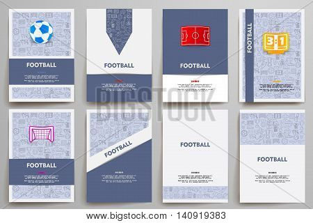 Corporate identity vector templates set with doodles football theme. Target marketing concept