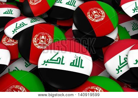 Iraq And Afghanistan Badges Background - Pile Of Iraqi And Afghan Flag Buttons 3D Illustration