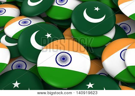India And Pakistan Badges Background - Pile Of Indian And Pakistani Flag Buttons 3D Illustration
