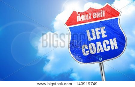 life coach, 3D rendering, blue street sign