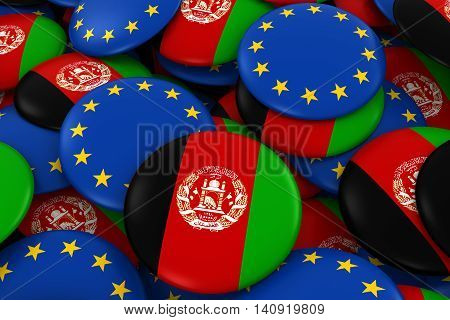 Afghanistan And Europe Badges Background - Pile Of Afghan And European Flag Buttons 3D Illustration