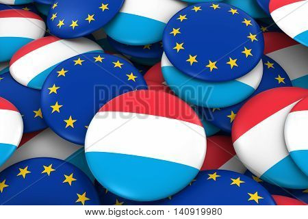 Luxembourg And Europe Badges Background - Pile Of Luxembourgish And European Flag Buttons 3D Illustr