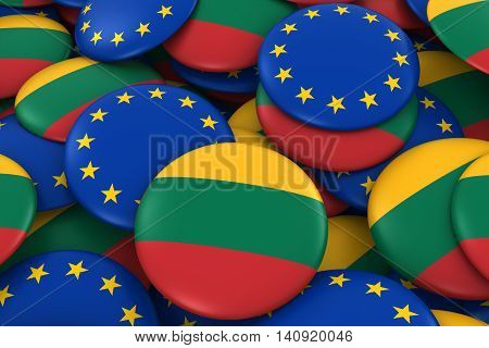 Lithuania And Europe Badges Background - Pile Of Lithuanian And European Flag Buttons 3D Illustratio