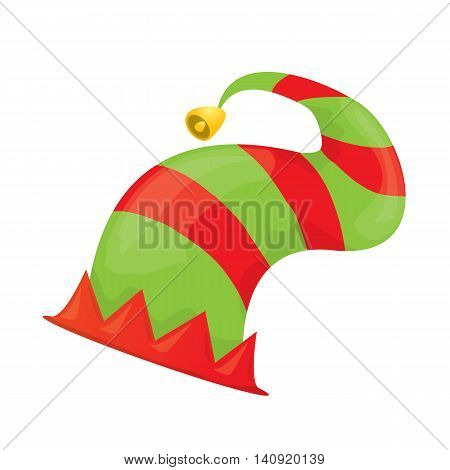 cartoon green christmas elf hat. vector illustration