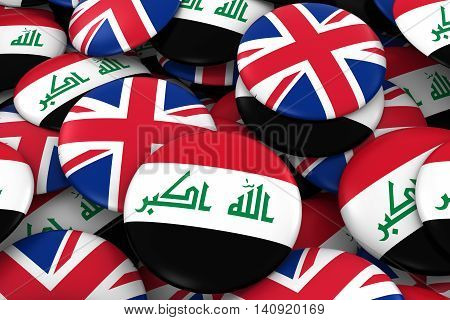 Iraq And Uk Badges Background - Pile Of Iraqi And British Flag Buttons 3D Illustration