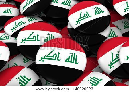 Iraq Badges Background - Pile Of Iraqi Flag Buttons 3D Illustration