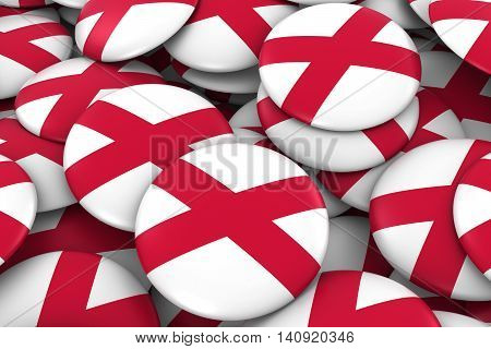 Northern Ireland Badges Background - Pile Of Northern Irish Flag Buttons 3D Illustration