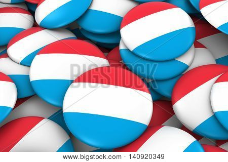 Luxembourg Badges Background - Pile Of Luxembourgish Flag Buttons 3D Illustration