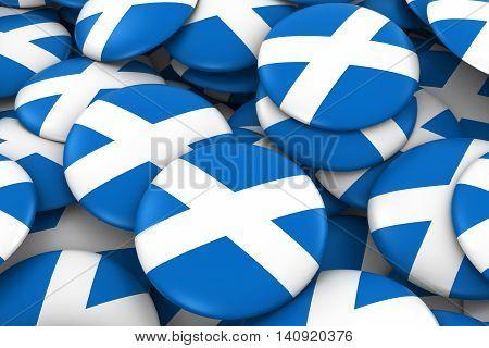 Scotland Badges Background - Pile Of Scottish Flag Buttons 3D Illustration