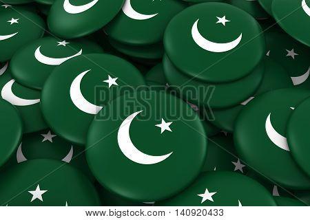 Pakistan Badges Background - Pile Of Pakistani Flag Buttons 3D Illustration