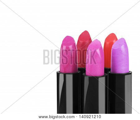 Red lipstick isolated on white background lipstick, closeup,