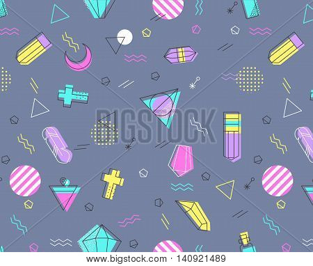 Retro 80's cover. For fabric, poster, business, wallpaper, phone cover. Geometric pattern.