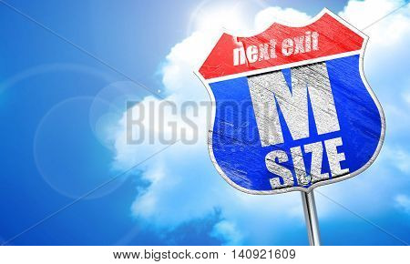 m size, 3D rendering, blue street sign