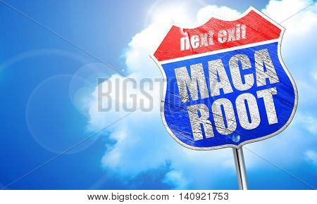 maca root, 3D rendering, blue street sign
