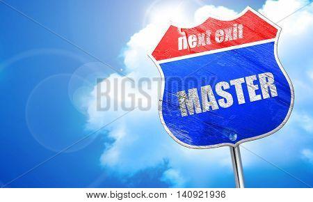 master, 3D rendering, blue street sign