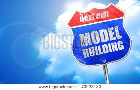 model building, 3D rendering, blue street sign