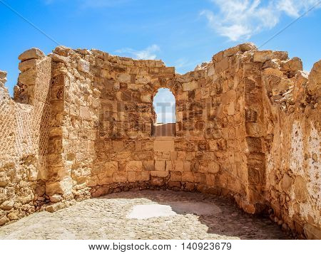 The ruins of the ancient Masada fortress in the Judaean Desert, Israel