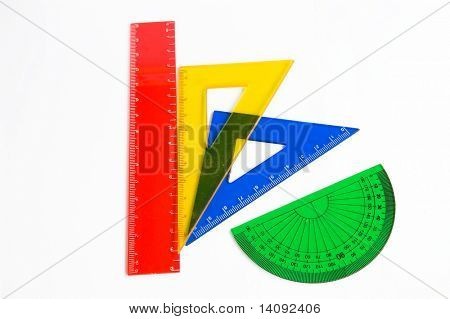 ruler and setsquare on white background