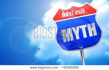 myth, 3D rendering, blue street sign