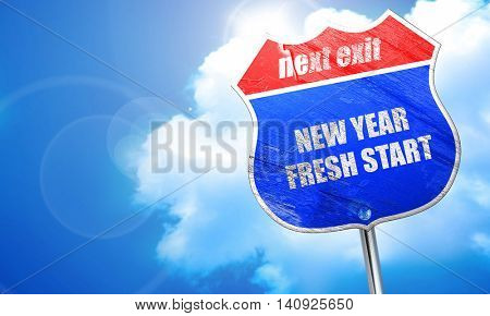 new year fresh start, 3D rendering, blue street sign