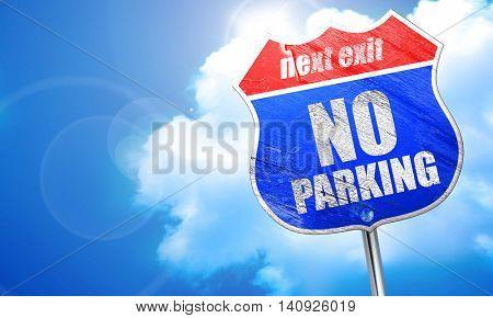 no parking, 3D rendering, blue street sign