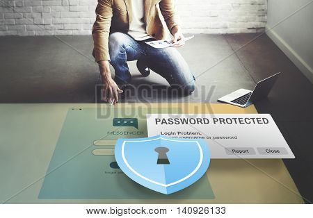 Password Protected Firewall Digital Internet Web Concept