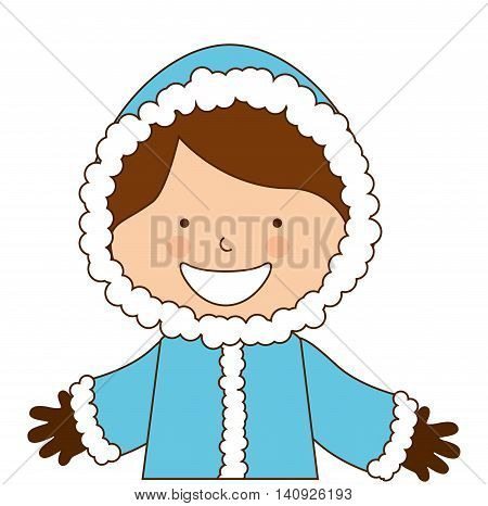 alaska boy character icon vector illustration design