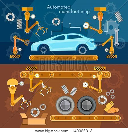 Car assembly line banner automotive industry conveyor belt vector illustration