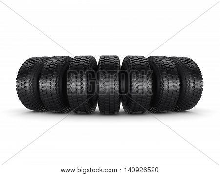 3D Rendering Truck Tires