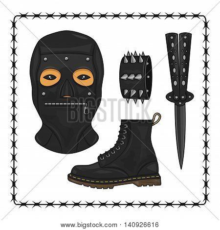 bdsm mask and knife illustration icons set