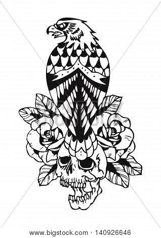 eagle and skull old school tattoo illustration