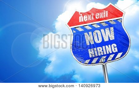 Now hiring sign, 3D rendering, blue street sign