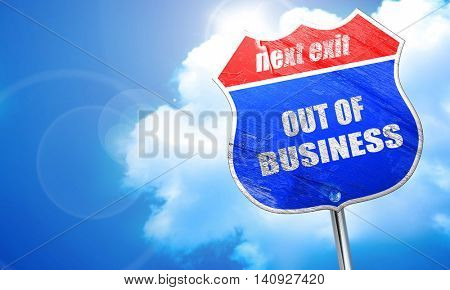 Out of business background, 3D rendering, blue street sign