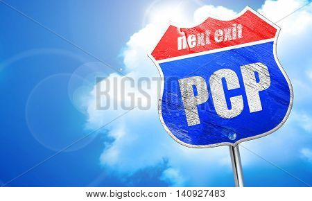 pcp, 3D rendering, blue street sign