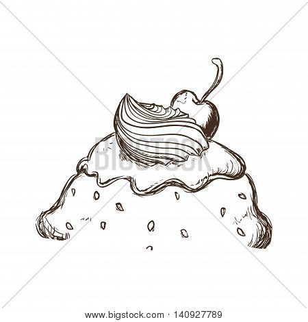 Dessert and sweet concept represented by piece of ice cream icon. Isolated and sketch illustration