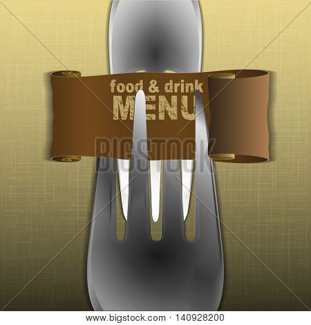 Template restaurant menu with forks and a scroll on textural fabric background.