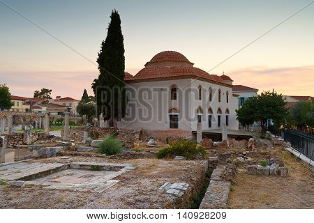 Church and remains of  Roman Agora in Athens, Greece.
