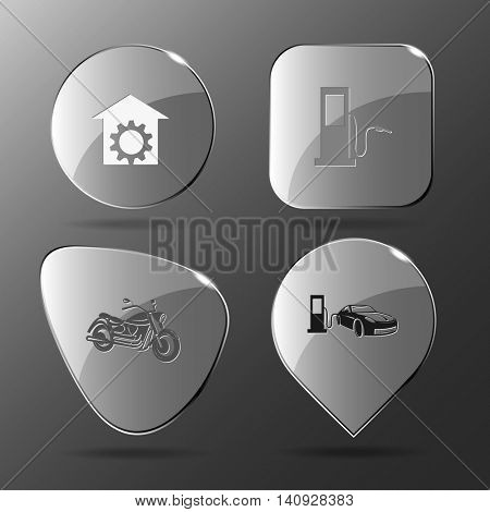4 images: repair shop, fueling station, motorcycle, car fueling. Transport set. Glass buttons. Vector illustration icon.