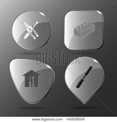 4 images: screwdriver and combination pliers, hollow brick, workshop, chisel. Industrial tools set. Glass buttons. Vector illustration icon.