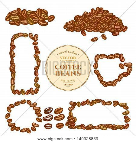 Coffee beans background collection template for design vector
