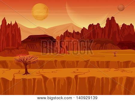 Fairy game Sci-fi red mars Alien Landscape. Nature on another planet with mountains, rocks and planets in the sky. UI Gaming landscape