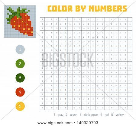 Color By Number, Fruits And Vegetables, Strawberry