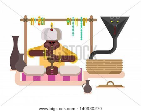 Cobra dances under flute. Charmer music, traditional asia man, animal poisonous, flat vector illustration