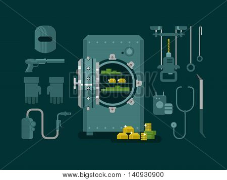 Bank safe with tools for hacking. Money and wealth, protection safety, finance deposit, business security, flat vector illustration