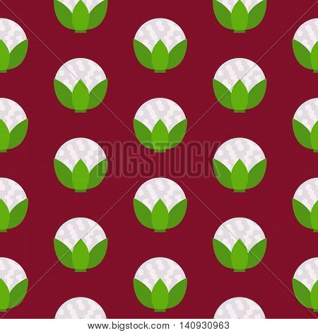 Cauliflower seamless pattern. Vector illustration of  image of cauliflower on a red background.